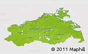 Physical 3D Map of Mecklenburg-Vorpommern, cropped outside