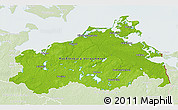Physical 3D Map of Mecklenburg-Vorpommern, lighten