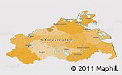 Political 3D Map of Mecklenburg-Vorpommern, cropped outside