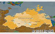 Political 3D Map of Mecklenburg-Vorpommern, darken