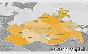 Political 3D Map of Mecklenburg-Vorpommern, desaturated
