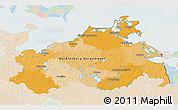 Political 3D Map of Mecklenburg-Vorpommern, lighten