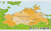 Political 3D Map of Mecklenburg-Vorpommern, physical outside
