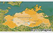 Political 3D Map of Mecklenburg-Vorpommern, satellite outside