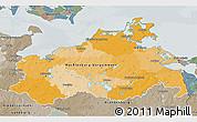 Political 3D Map of Mecklenburg-Vorpommern, semi-desaturated