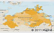 Political 3D Map of Mecklenburg-Vorpommern, shaded relief outside