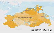 Political 3D Map of Mecklenburg-Vorpommern, single color outside