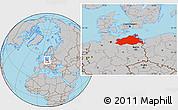 Gray Location Map of Mecklenburg-Vorpommern