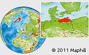 Physical Location Map of Mecklenburg-Vorpommern