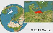 Satellite Location Map of Mecklenburg-Vorpommern