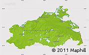 Physical Map of Mecklenburg-Vorpommern, cropped outside