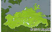 Physical Map of Mecklenburg-Vorpommern, darken