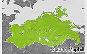 Physical Map of Mecklenburg-Vorpommern, desaturated