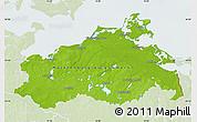 Physical Map of Mecklenburg-Vorpommern, lighten