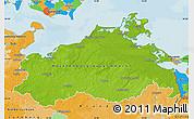 Physical Map of Mecklenburg-Vorpommern, political outside