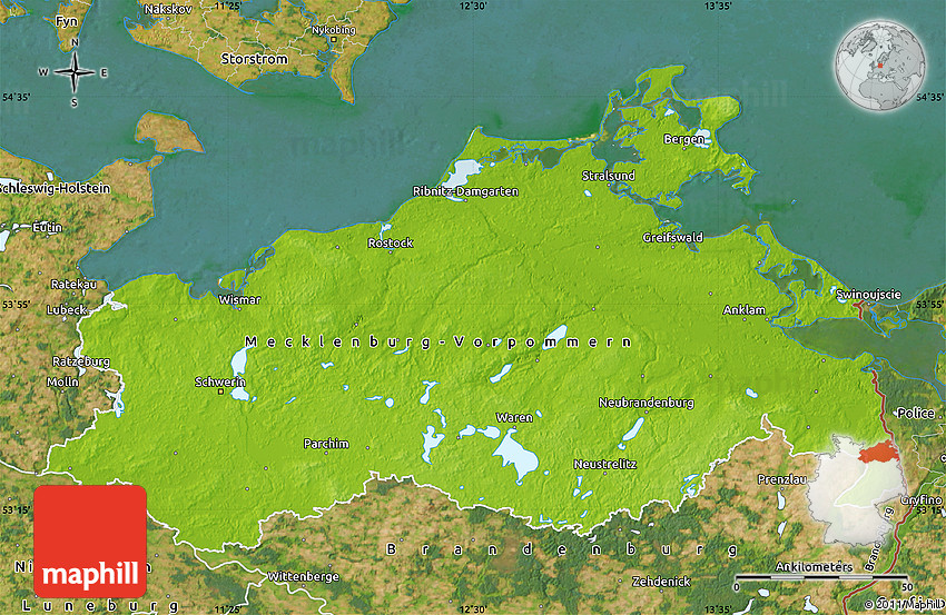 Physical Map of MecklenburgVorpommern satellite outside