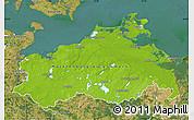 Physical Map of Mecklenburg-Vorpommern, satellite outside