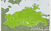 Physical Map of Mecklenburg-Vorpommern, semi-desaturated