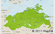 Physical Map of Mecklenburg-Vorpommern, shaded relief outside
