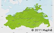 Physical Map of Mecklenburg-Vorpommern, single color outside