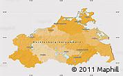 Political Map of Mecklenburg-Vorpommern, cropped outside