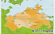 Political Map of Mecklenburg-Vorpommern, physical outside