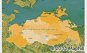 Political Map of Mecklenburg-Vorpommern, satellite outside