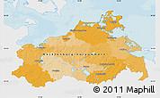 Political Map of Mecklenburg-Vorpommern, single color outside