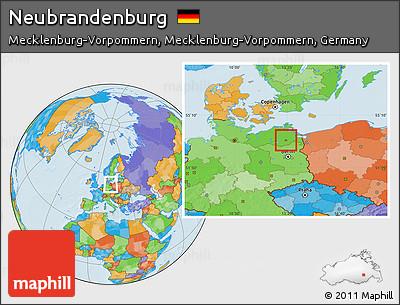 Free Political Location Map of Neubrandenburg