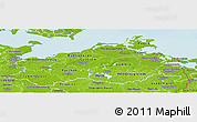 Physical Panoramic Map of Mecklenburg-Vorpommern