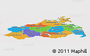 Political Panoramic Map of Mecklenburg-Vorpommern, cropped outside