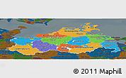 Political Panoramic Map of Mecklenburg-Vorpommern, darken