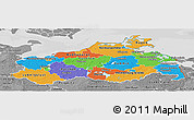 Political Panoramic Map of Mecklenburg-Vorpommern, desaturated