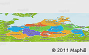 Political Panoramic Map of Mecklenburg-Vorpommern, physical outside
