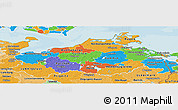 Political Panoramic Map of Mecklenburg-Vorpommern, political shades outside