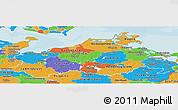 Political Panoramic Map of Mecklenburg-Vorpommern