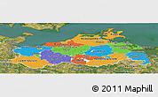 Political Panoramic Map of Mecklenburg-Vorpommern, satellite outside