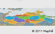 Political Panoramic Map of Mecklenburg-Vorpommern, semi-desaturated