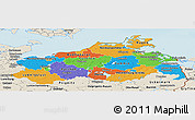 Political Panoramic Map of Mecklenburg-Vorpommern, shaded relief outside