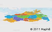 Political Panoramic Map of Mecklenburg-Vorpommern, single color outside