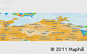 Political Shades Panoramic Map of Mecklenburg-Vorpommern