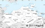 Silver Style Simple Map of Mecklenburg-Vorpommern