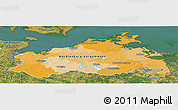 Political Panoramic Map of Mecklenburg-Vorpommern, satellite outside