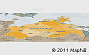 Political Panoramic Map of Mecklenburg-Vorpommern, semi-desaturated