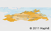Political Panoramic Map of Mecklenburg-Vorpommern, single color outside