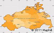 Political Simple Map of Mecklenburg-Vorpommern, cropped outside
