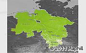 Physical 3D Map of Niedersachsen, darken, desaturated