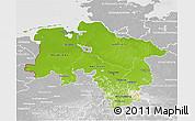 Physical 3D Map of Niedersachsen, lighten, desaturated