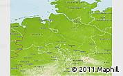 Physical 3D Map of Niedersachsen