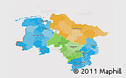 Political 3D Map of Niedersachsen, cropped outside